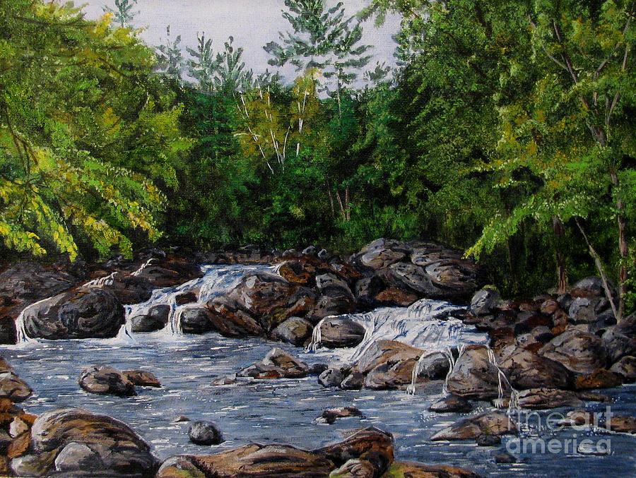 Stream Painting - Running Stream by Nancie Johnson