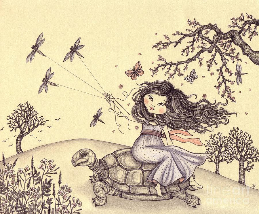 Illustration Drawing - Running To The Spring by Snezana Kragulj