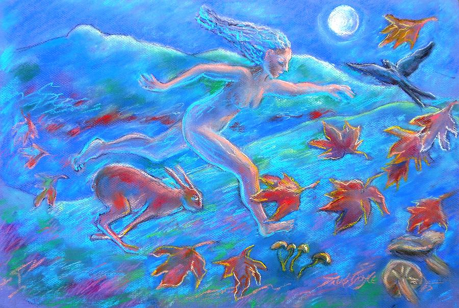 Running Painting - Running With The Hare by Trudi Doyle