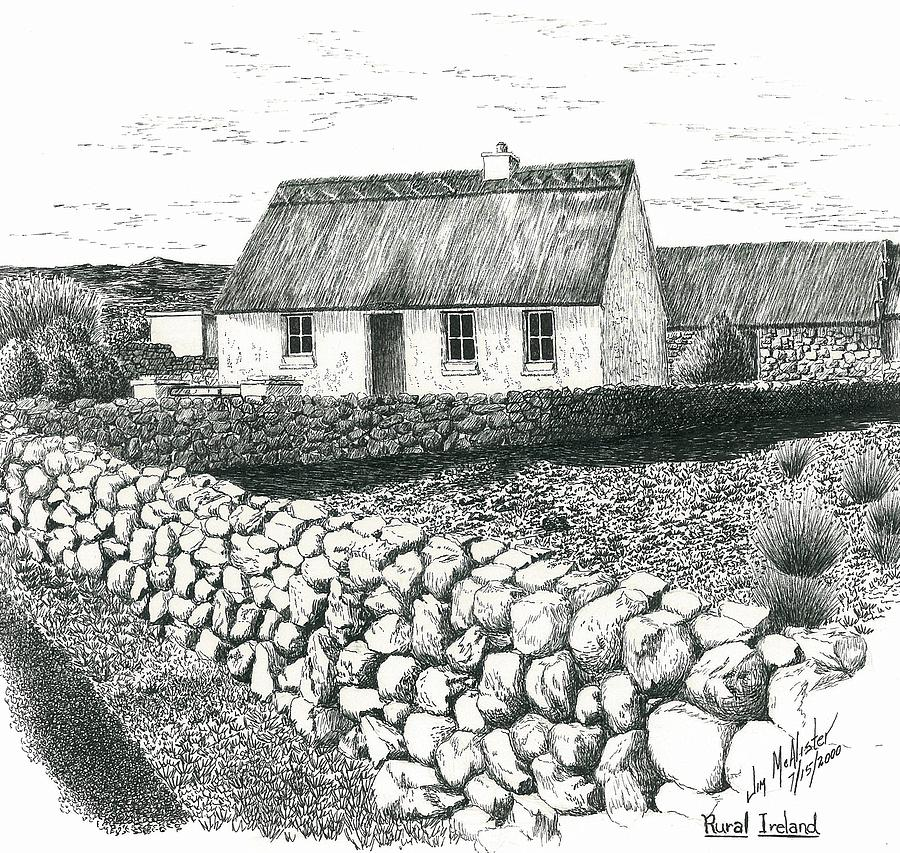 Rural Irish Cottage Drawing By Jimmy McAlister