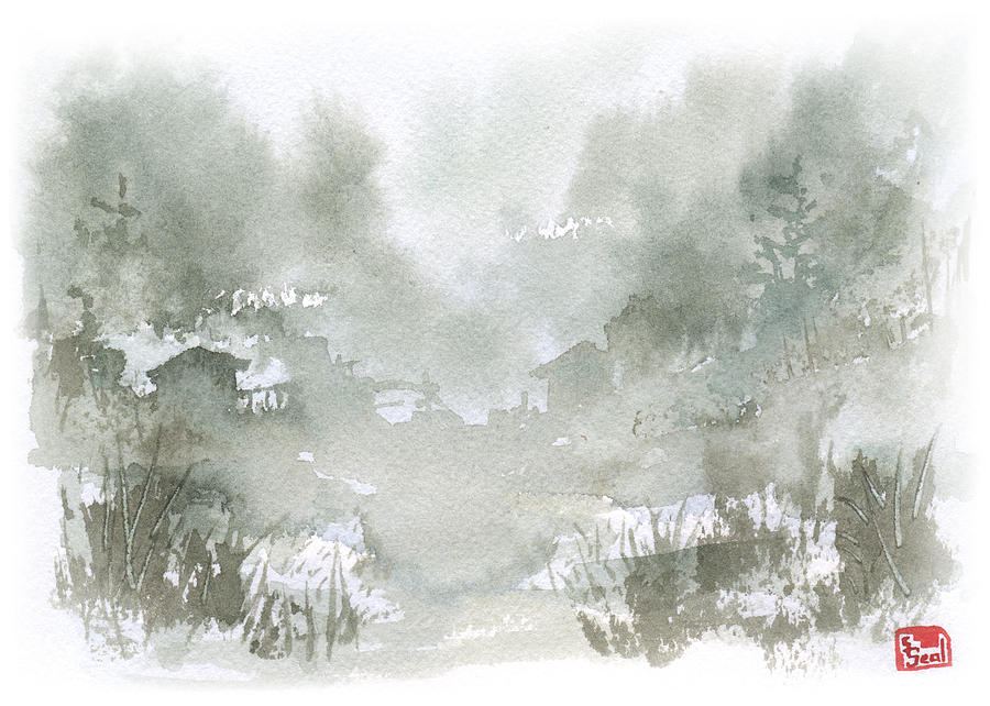 Chinese Landscape Painting - Rural Valley by Sean Seal