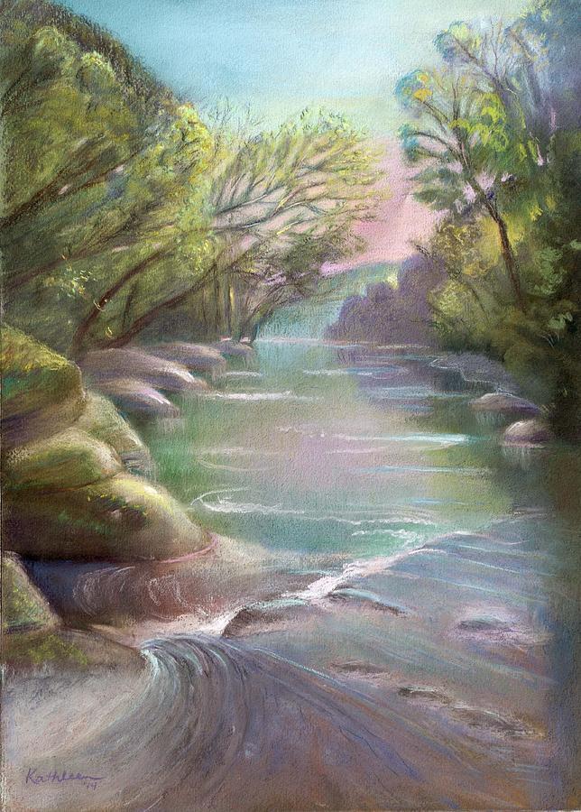 Creek Painting - Rushing Creek Gatlinburg Tennessee by Kathleen Bonadonna