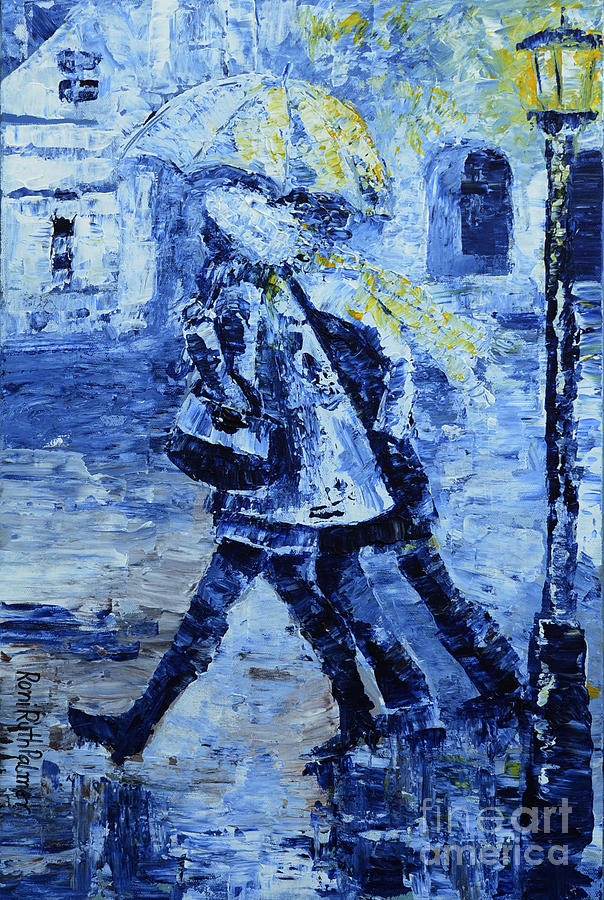 Urban Painting - Rushing In The Rain  by Roni Ruth Palmer