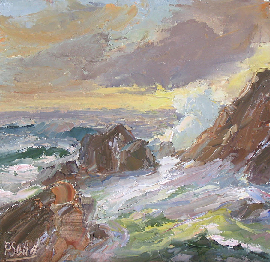 Ocean Painting - Rushing Tide by Patricia Seitz