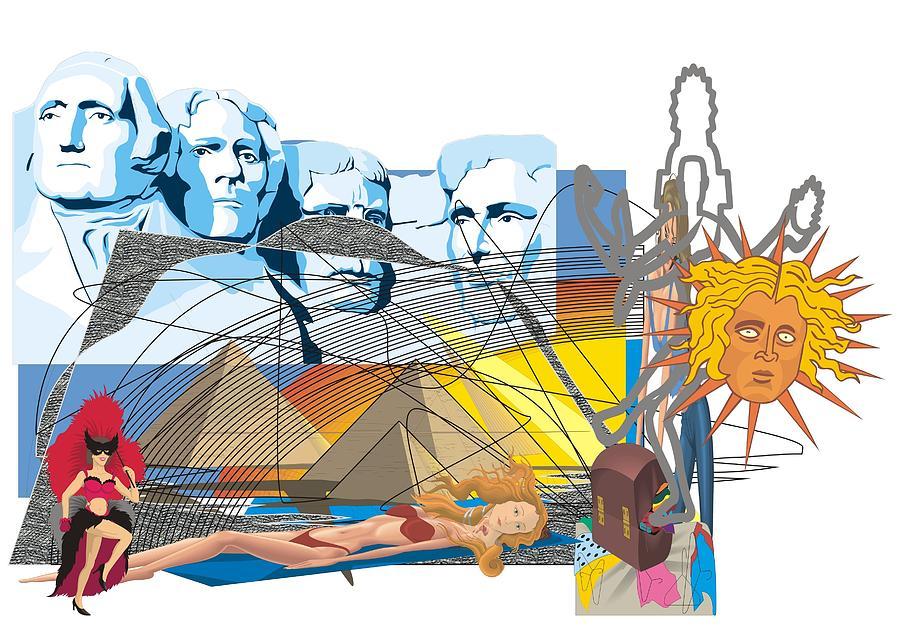 Postmodern Digital Art - Rushmore Bikini Pyramid by Teo Spiller