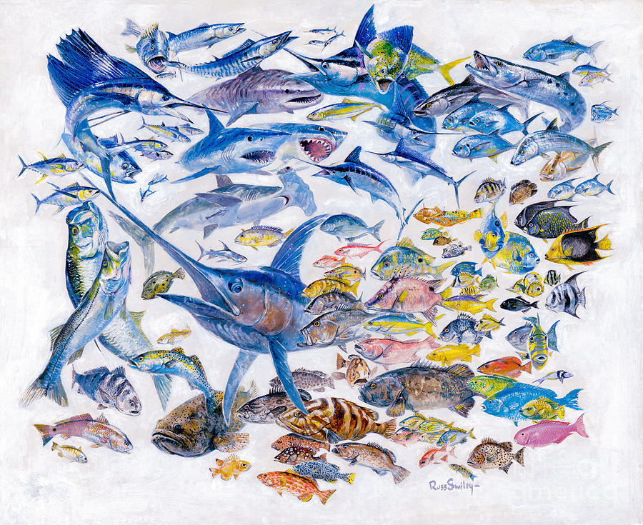 Gamefish Painting - Russ Smiley Gamefish Collage by Carey Chen