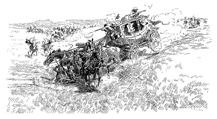 19th Century Drawing - Russell Overland Stage by Granger