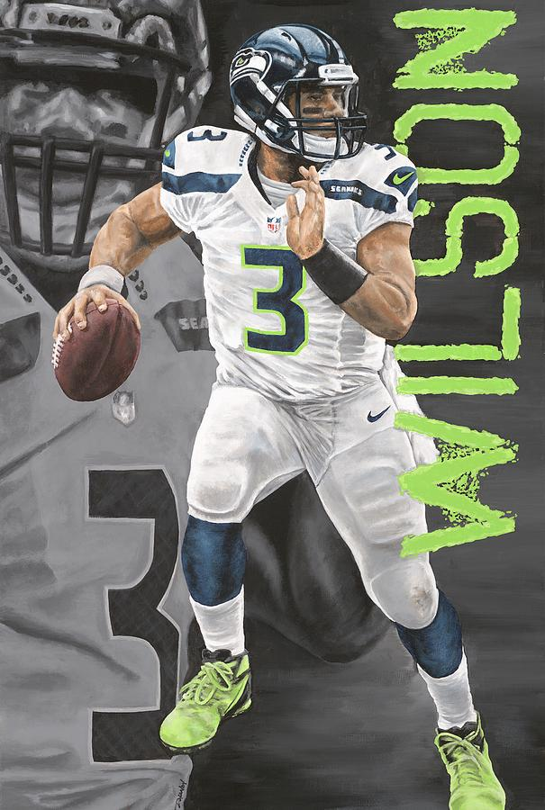 Russell Painting - Russell Wilson by Dustin Handy