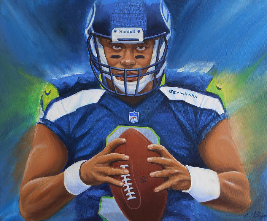 Russell Wilson Seattle Seahawks Painting by Angie Villegas