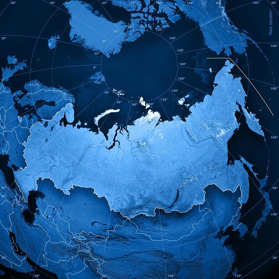 Russia Topographic Map Digital Art By Frank Ramspott