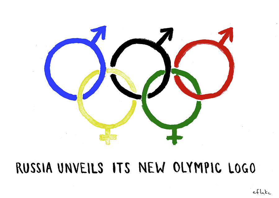 Russia Unveils Its New Olympic Logo Drawing by Emily Flake