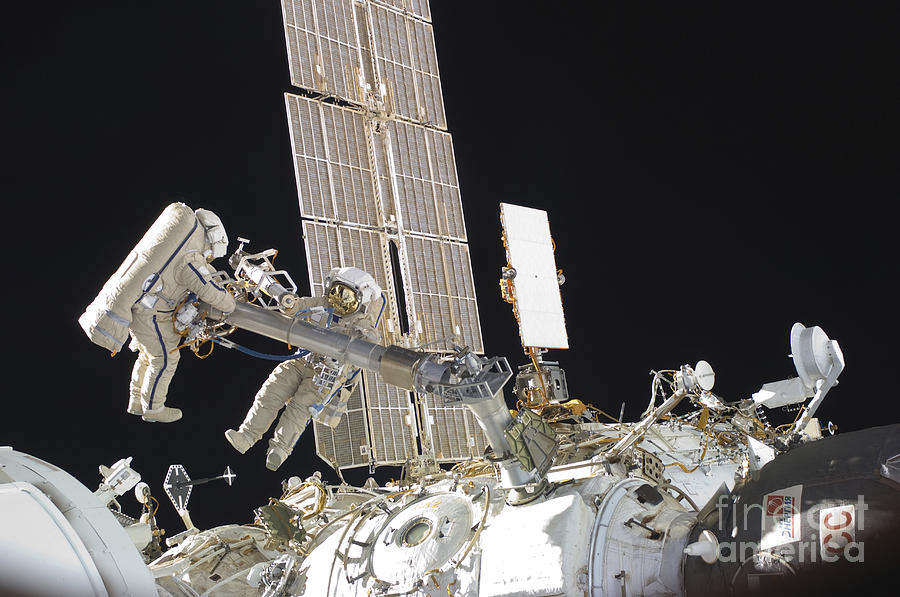 Color Image Photograph - Russian Cosmonauts Working by Stocktrek Images