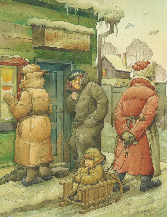 Russian Winter Painting - Russian Scene 07 by Kestutis Kasparavicius