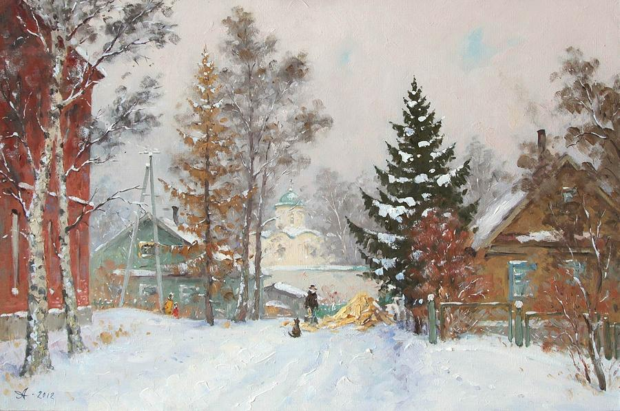 russian winter painting by alexandrovsky alexander. Black Bedroom Furniture Sets. Home Design Ideas