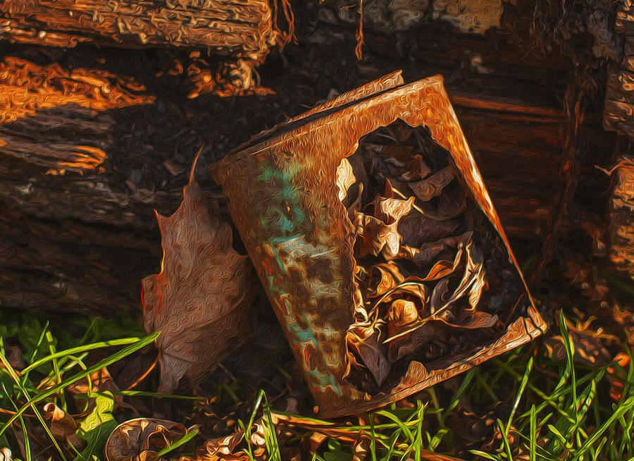 Landscape Painting - Rusted Can Of Leaves by Jack Zulli
