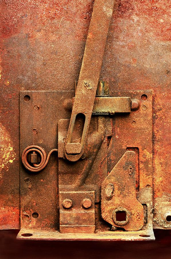 Latch Photograph - Rusted Latch by Jim Hughes