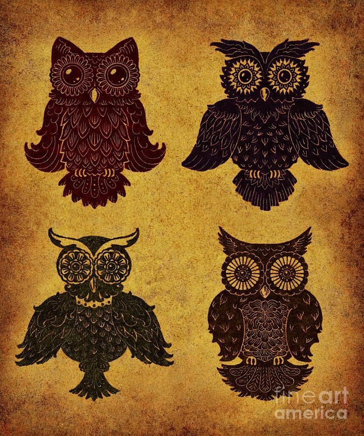 Aged Digital Art - Rustic Aged 4 Owls by Kyle Wood