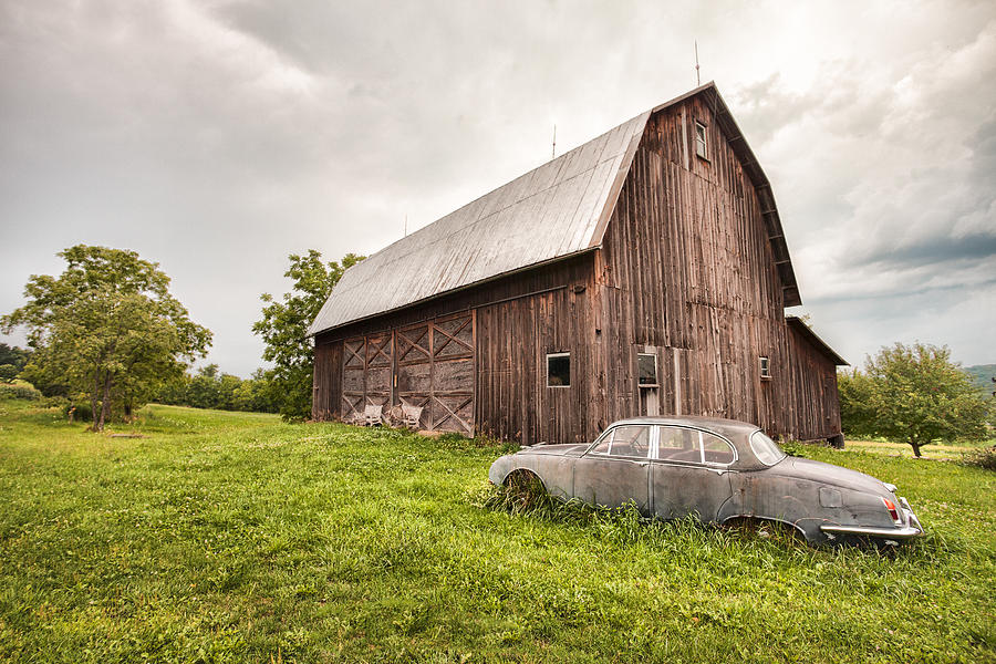 Old Car Photograph - Rustic Art - Old Car And Barn by Gary Heller