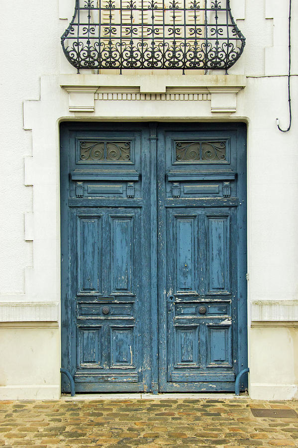 Rustic Blue Wooden Door In Colonial Photograph by Edelstoff