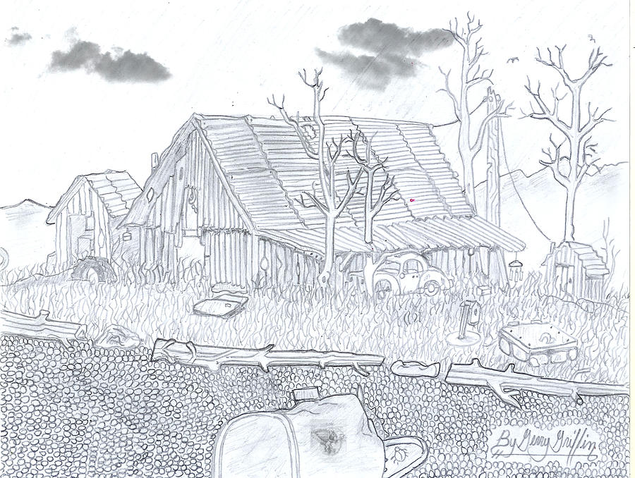 Vintage Building Drawing - Rustic Cabin Royal Arkansas by Gerald Griffin