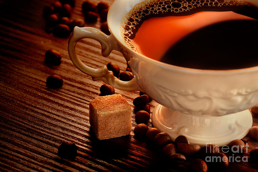 Cup Photograph - Rustic Coffee by Mythja  Photography
