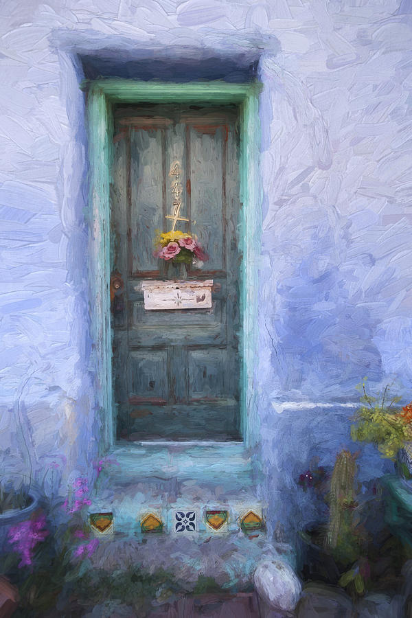 Arizona Photograph - Rustic Door in Tucson Barrio Painterly Effect by Carol Leigh