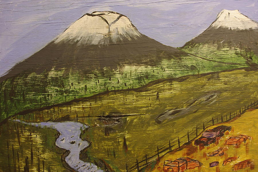 Mountain Painting - Rustic Mountain Scene by Keith Nichols