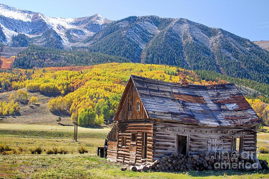 Aspens Photograph - Rustic Rural Colorado Cabin Autumn Landscape by James  BO Insogna