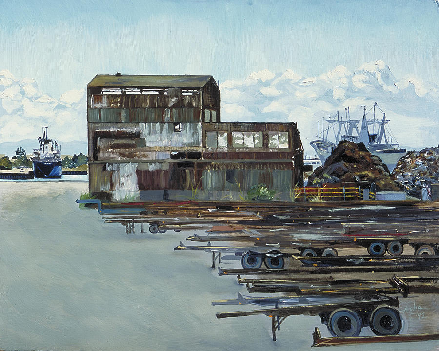 Urban Industrial Painting; Asha Carolyn Young Landscape Painting - Rustic Schnitzer Steel Building With Trailers At The Port Of Oakland  by Asha Carolyn Young