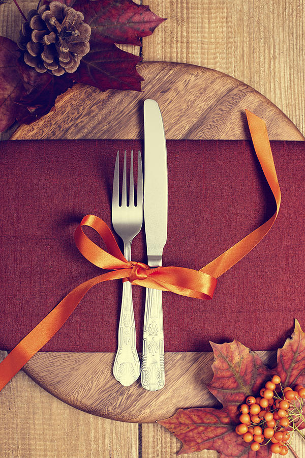 Autumn Photograph - Rustic Table Setting For Autumn by Amanda Elwell