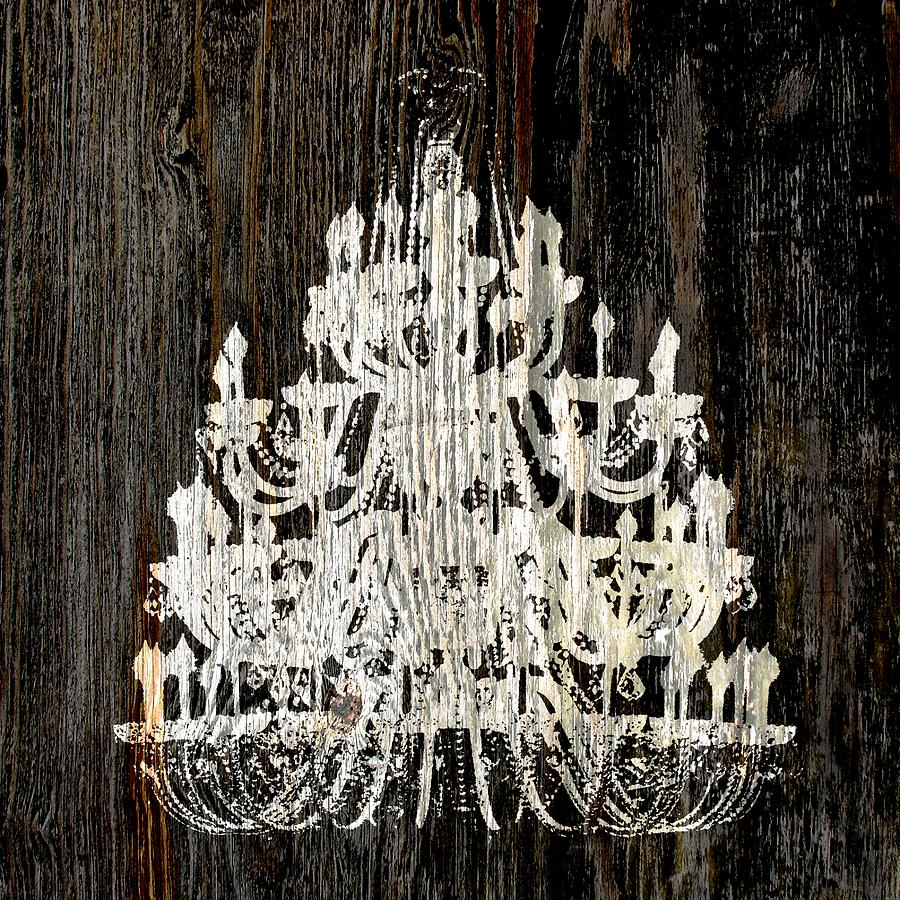 Chandelier Photograph - Rustic Shabby Chic White Chandelier On Wood by Suzanne Powers