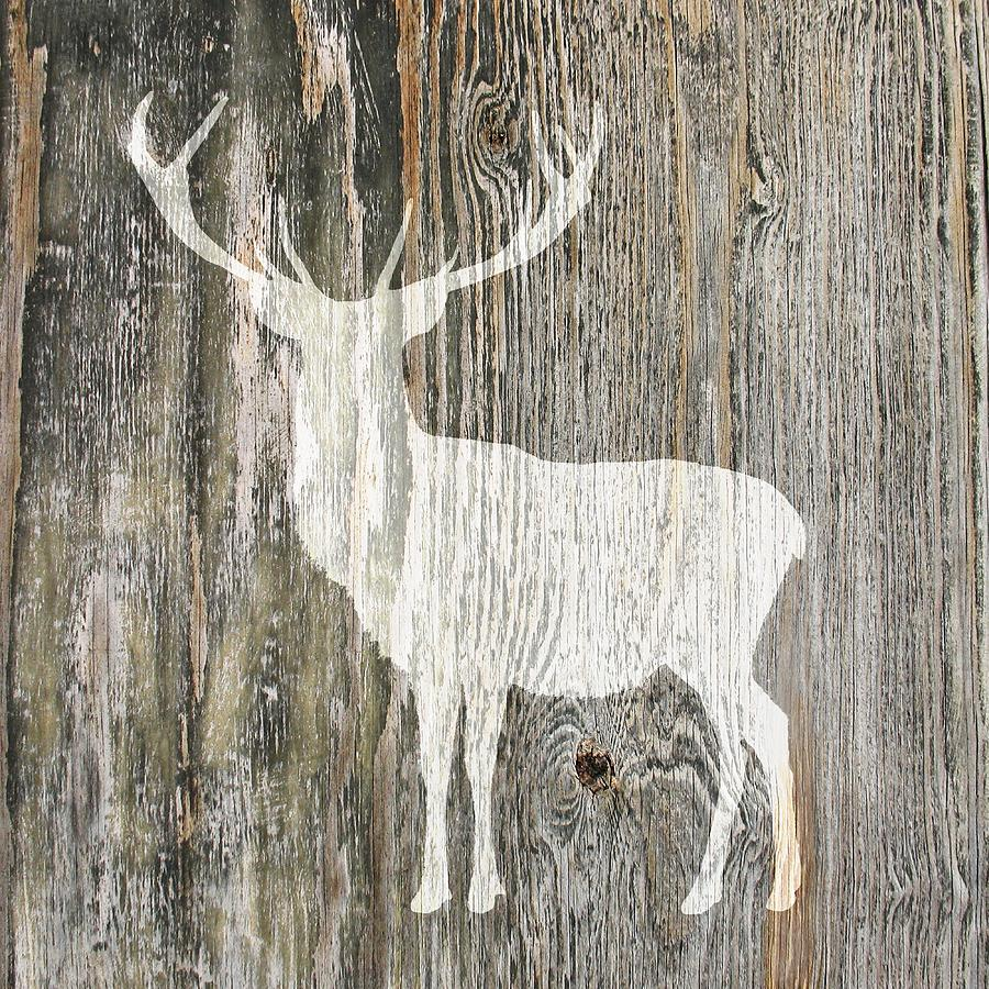 Rustic White Stag Deer Silhouette On Wood Left Facing