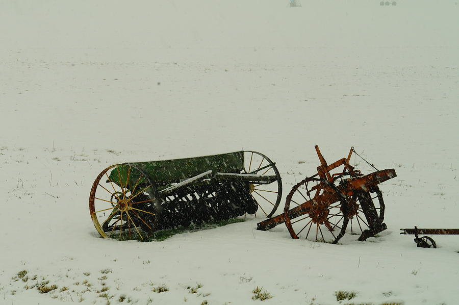 Farming Photograph - Rusting In The Snow by Jeff Swan