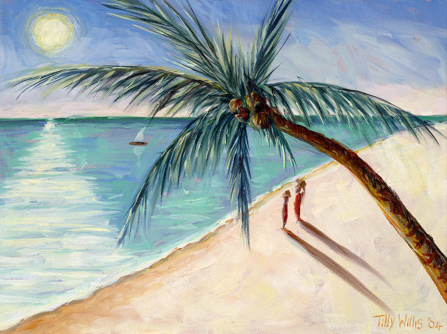 Rustling Palm Painting - Rustling Palm by Tilly Willis