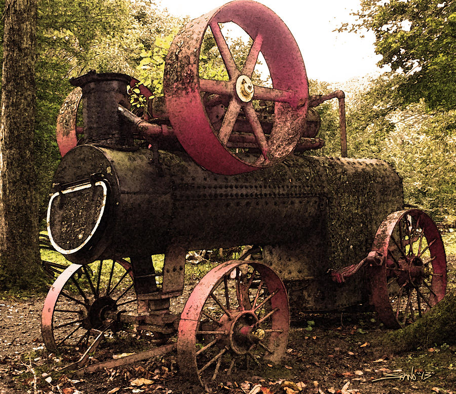 Rusty Antique Steam Engine by Michael Spano