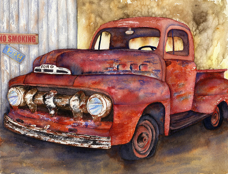 Rusty Crusty Ford Truck Painting by Diane Ferron