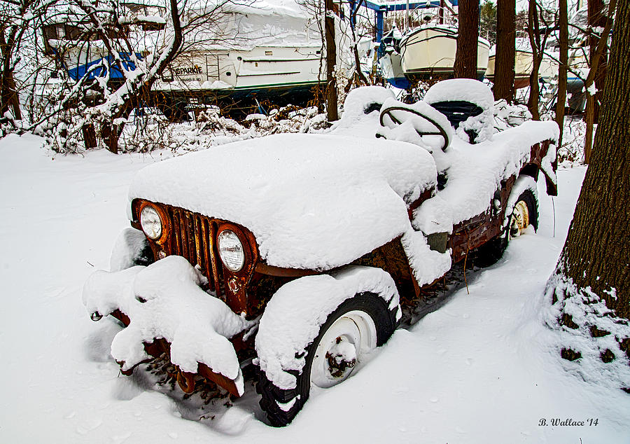 2d Photograph - Rusty Jeep In Snow by Brian Wallace