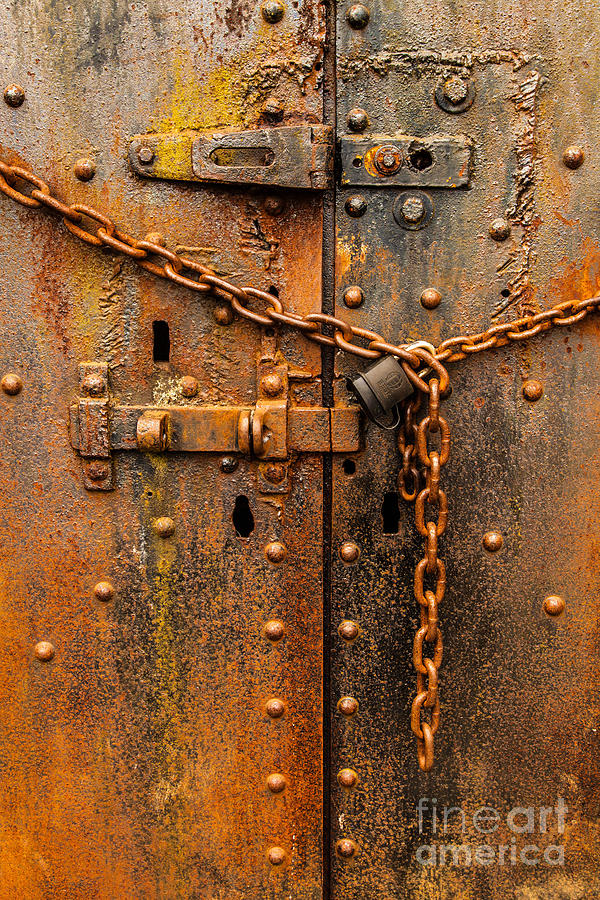 Abstract Photograph - Rusty Locked Door Abstract by James Adams & Rusty Locked Door Abstract Photograph by James Adams
