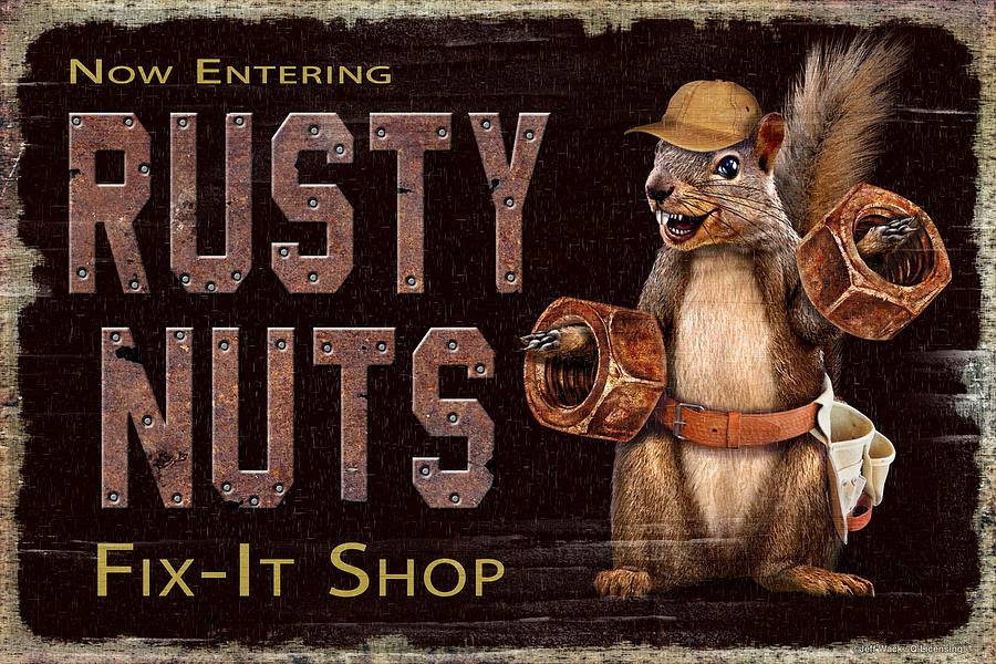 Man Cave Painting - Rusty Nuts by JQ Licensing