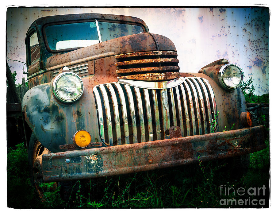 Car Photograph - Rusty Old Chevy Pickup by Edward Fielding