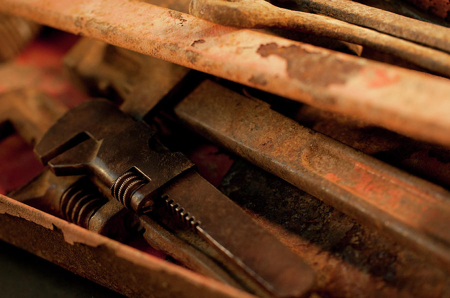 Rusty Photograph - Rusty Toolbox And Tools by Wilma  Birdwell
