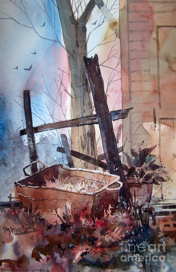 Watercolor Painting - Rusty Tub by Micheal Jones