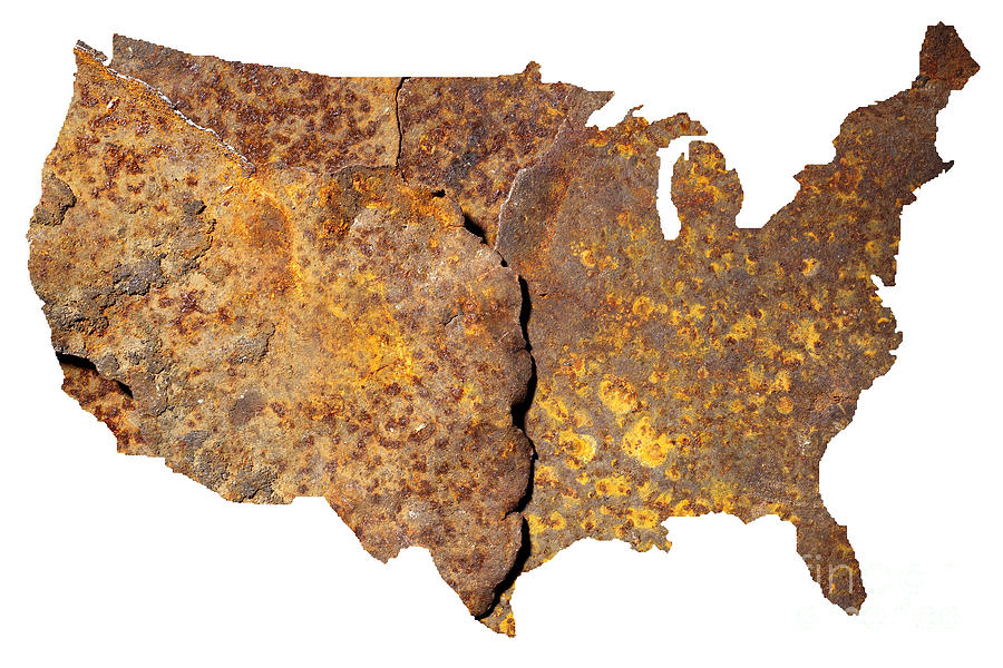 Usa Photograph - Rusty Usa Map by Tony Cordoza