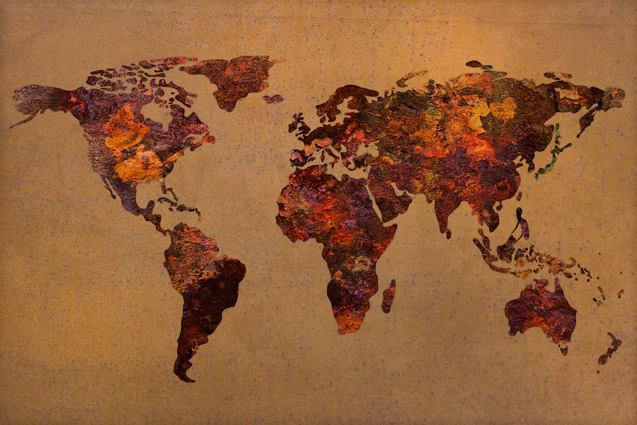Rusty Vintage World Map On Old Metal Sheet Wall Mixed