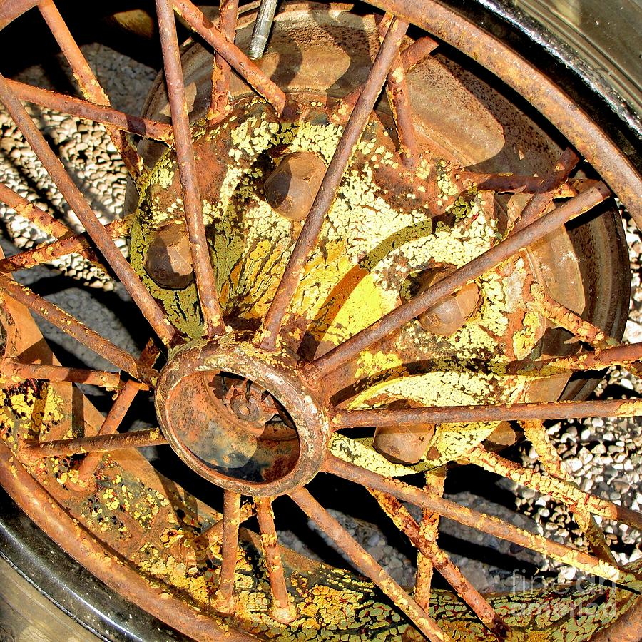 Patterns Photograph - Rusty Wheel by Marilyn Smith