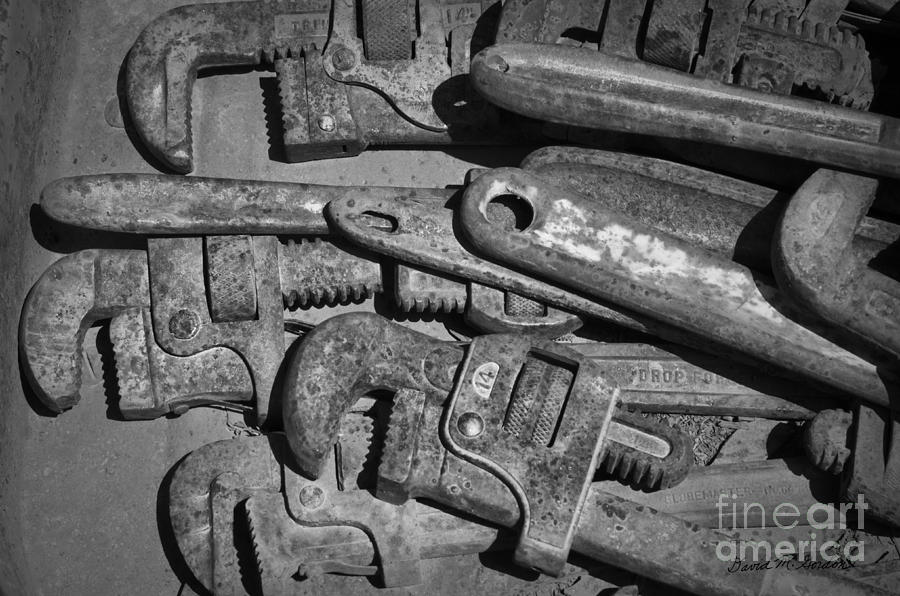 Rust Photograph - Rusty Wrenches Bw by Dave Gordon