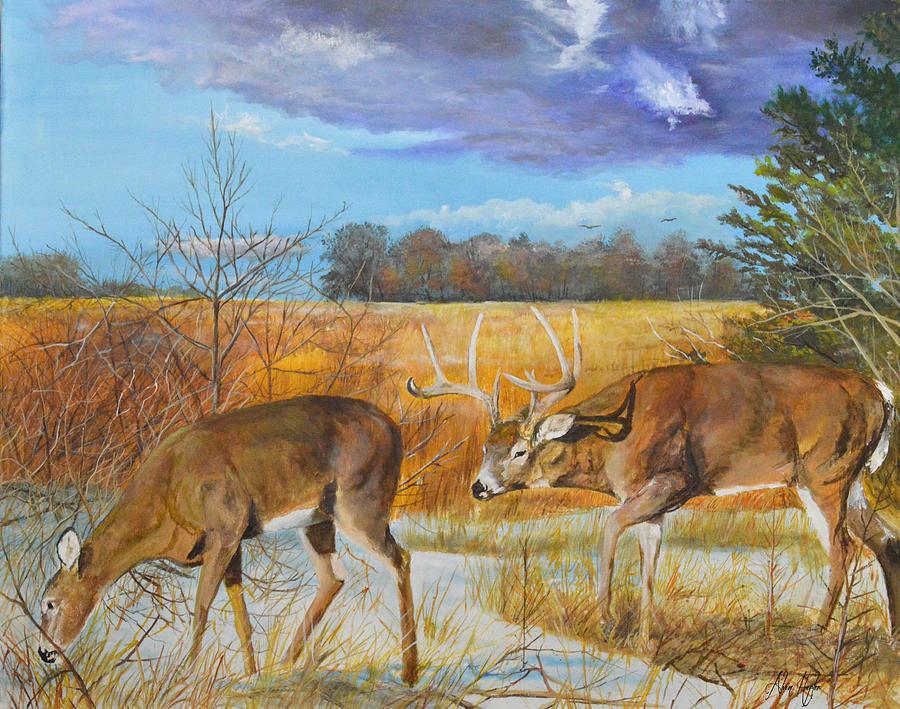 Rut Whitetail Deer Painting By Alvin Hepler