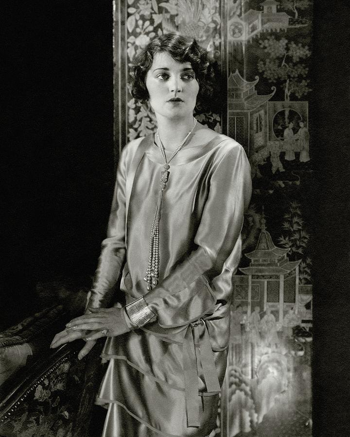 Ruth Elder Wearing A Satin Dress Photograph by Edward Steichen