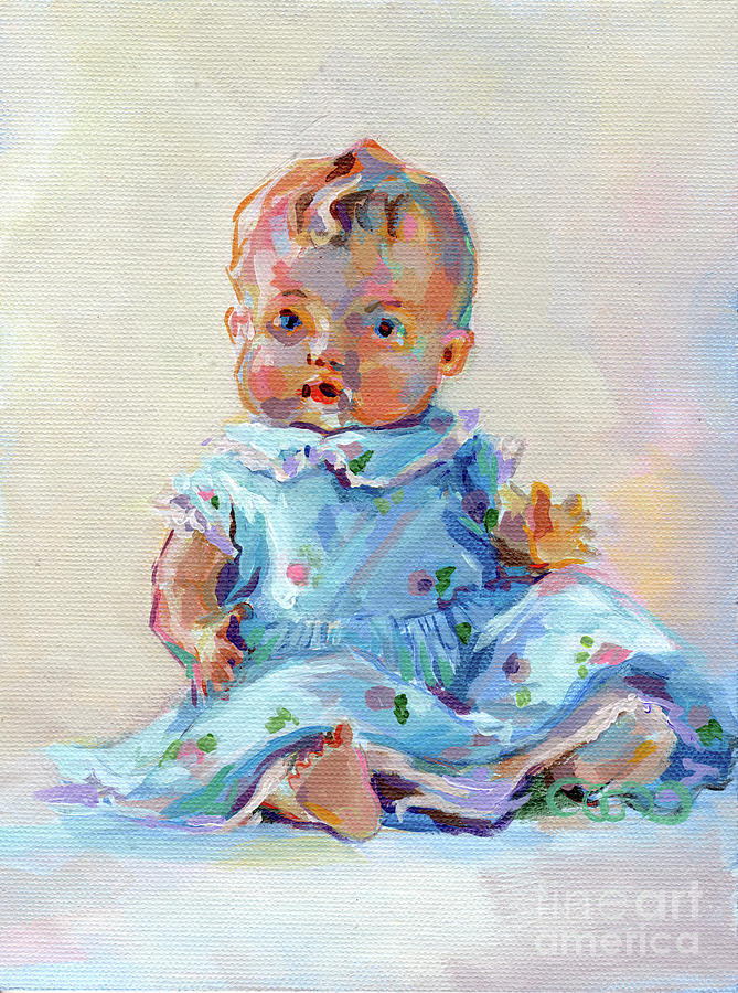 Vintage Doll Painting - Ruthie by Kimberly Santini