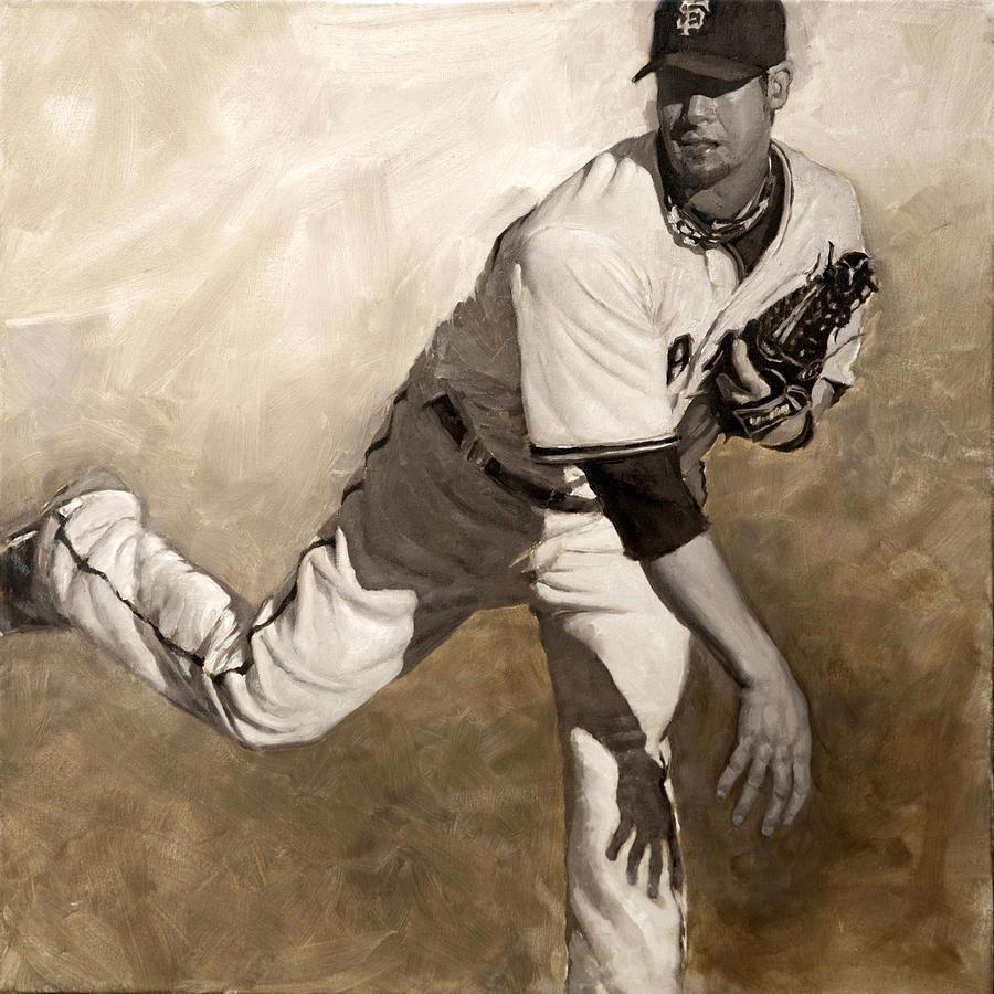 Ryan Vogelsong Painting - Ryan Vogelsong Perseverence by Darren Kerr